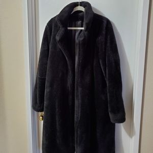 Faux fur evening coat